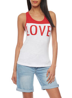 Color Block Love Graphic Racer Back Tank Top - 1302033878117