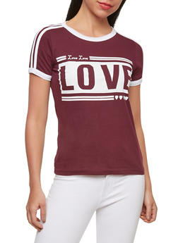 Love Graphic Contrast Trim T Shirt - 1302033878491