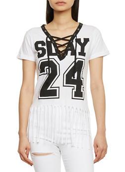 Lace Up V Neck Slay Graphic T Shirt with Fringed Hem - WHITE - 1302033879112