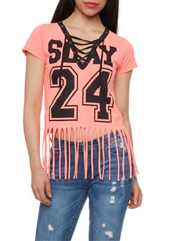 Lace Up V Neck Slay Graphic T Shirt with Fringed Hem - NEON PINK - 1302033879112