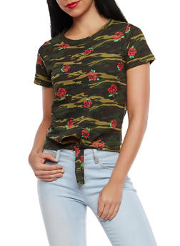 Camo Rose Graphic Tie Front T Shirt - 1302033879180