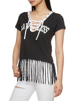 Lace Up V Neck Flawless Graphic T Shirt with Fringed Hem - BLACK - 1302033879614