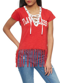 Lace Up V Neck Flawless Graphic T Shirt with Fringed Hem - 1302033879614