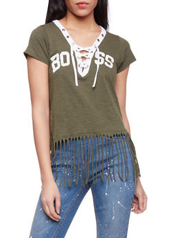 Boss Graphic T Shirt with Lace Up V Neck and Fringed Hem - OLIVE - 1302033879616