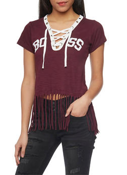 Boss Graphic T Shirt with Lace Up V Neck and Fringed Hem - 1302033879616