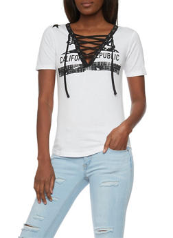 Lace Up V Neck Graphic T Shirt - WHITE - 1302033879651