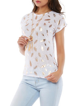 Foiled Feather Print Top with Necklace - 1302038342641