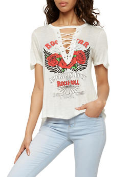 Lace Up Graphic T Shirt - 1302058750002