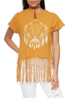 Graphic T Shirt with Fringe Hem - MUSTARD - 1302058750122