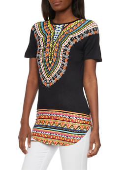 Dashiki Print Tunic Top with Forever Foil Graphic - 1302058750198