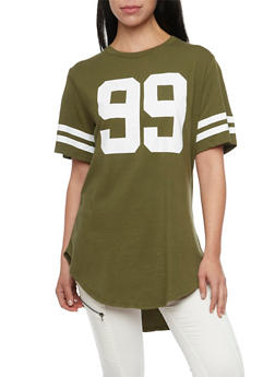 Oversized Tee with 99 Hustle Print - OLIVE - 1302058756501