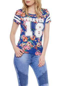 Floral Forever 18 Varsity Stripe Short Sleeve Top - 1302058756768