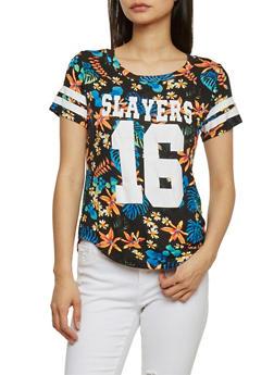 Tropical Print Slayers 16 Varsity Stripe Short Sleeve T Shirt - 1302058756770