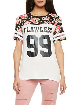 Floral Flawless Graphic T Shirt with Varsity Stripe Sleeve Accent - 1302058756771