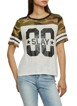 Camoflauge Yolk Graphic T Shirt with Slay Text - 1302058756772