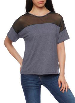 Mesh Yoke Marled T Shirt - 1302058757088