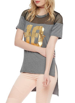 High Low Short Sleeve T Shirt with Mesh Yoke - 1302058757093