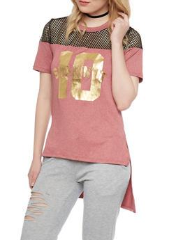 High Low Short Sleeve T Shirt with Mesh Yoke - 1302058757093