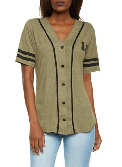 Short Sleeve Forever 18 Button Front Baseball Jersey - 1302058757112