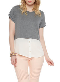 Two Tone Layered Short Sleeve Top - 1302058757114