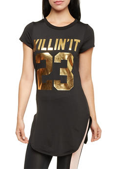 Tunic Top with Killin It 23 Gold Foil and Fleece Lining - 1302058757135
