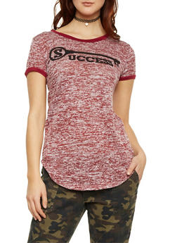 Knit Ringer Tee with Key to Success Graphic - BURGUNDY - 1302058757171