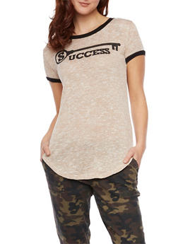 Knit Ringer Tee with Key to Success Graphic - 1302058757171