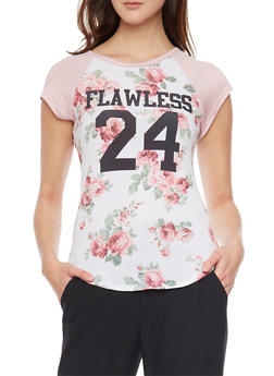 Short Sleeve Floral Print Flawless Top - 1302058757419