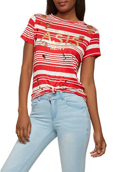 Striped Graphic Laser Cut Tee - 1302058757510