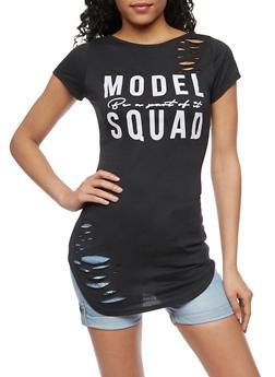 Model Squad Graphic Lasercut Tunic Top - BLACK - 1302058757530