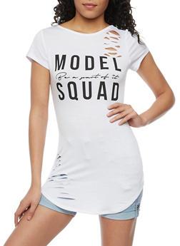 Model Squad Graphic Lasercut Tunic Top - WHITE - 1302058757530