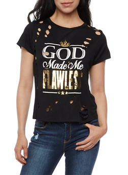 God Made Me Flawless Graphic Lasercut Top - 1302058757532