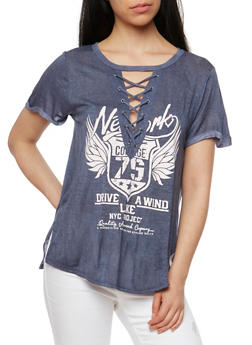 Short Sleeve Rocker Graphic Lace Up T Shirt - NAVY - 1302058758049