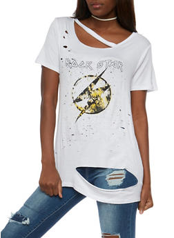 Destroyed Rockstar Graphic Tunic Top - 1302058758908