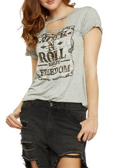 Rock n Roll Graphic Lasercut Choker T Shirt - 1302058758990
