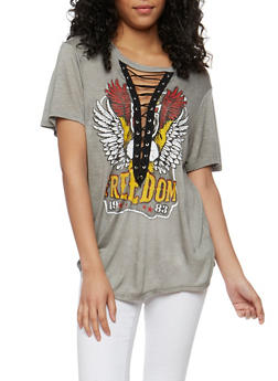 Freedom Graphic Lace Up T Shirt - CHARCOAL - 1302058759003