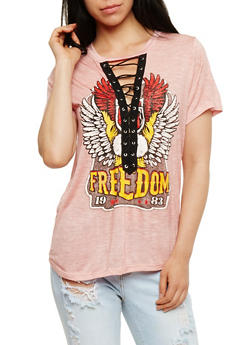 Freedom Graphic Lace Up T Shirt - MAUVE - 1302058759003