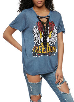Freedom Graphic Lace Up T Shirt - DENIM - 1302058759003