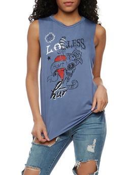 Love Graphic Lasercut Back Tank Top - 1302058759032