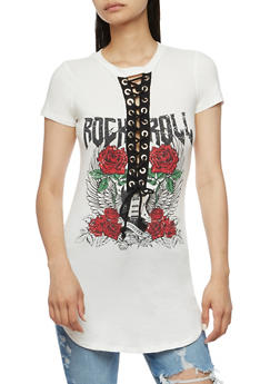 Rock N Roll Graphic Lace Up Tunic Top - WHITE - 1302058759034