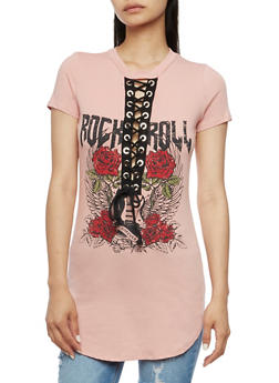 Rock N Roll Graphic Lace Up Tunic Top - MAUVE - 1302058759034