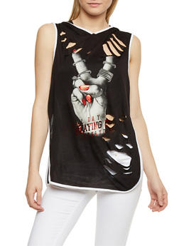 Slaying It Graphic Sleeveless Slashed Hooded Top - 1302067330037