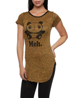 Marled Tunic Top with Panda Meh Graphic - 1302067330423