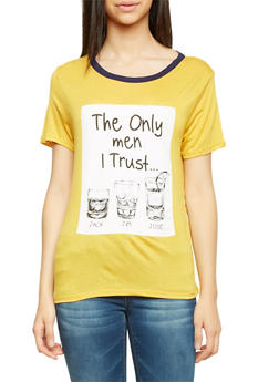 Graphic Tee with The Only Men I Trust Print - 1302067330426