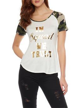 Foil Graphic Short Sleeve Scoop Neck Tee Shirt - 1302067330427