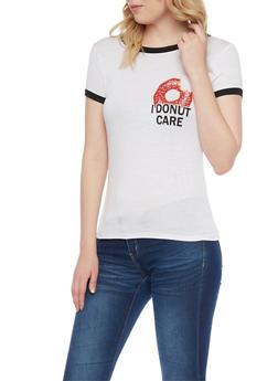 I Donut Care Printed Ringer Tee - 1302067336293