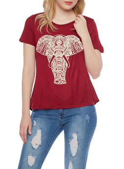 Elephant Graphic Top with High Low Hem - 1302067337233