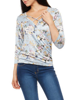 Floral Criss Cross Faux Wrap Top - 1303015991720
