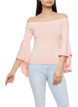 Off the Shoulder Bell Sleeve Top - 1303015992517