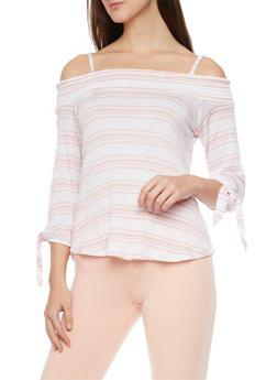 Striped  3/4 Sleeve Cold Shoulder Gauze Top - 1303015992791